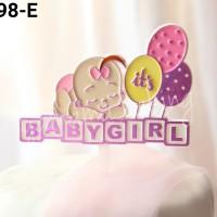 TI-0098-E Topper tulisan baby shower girl bayi perempuan cewek pink