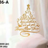 TI-0086-A Topper tulisan merry christmas natal happy new year emas