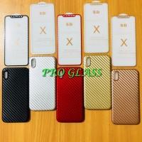 P101 Paket Iphone X 4D Premium Tempered Glass Carbon Case Carbon