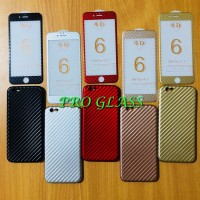 P101 Paket Iphone 8 / 8 Plus 4D Tempered Glass Carbon Case Carbon