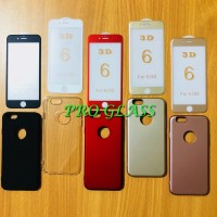 P102 Paket Iphone 6 / 6s Plus 4D Matte Tempered Glass Baby Skin Case