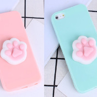 Silicon 3D Case cover Soft TPU Squishy iPhone 5 5s SE 6 6s 7 Plus cat