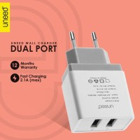 Uneed USB Wall Charger Batok Kepala 2 Port Fast Charging 2.1A UCH106