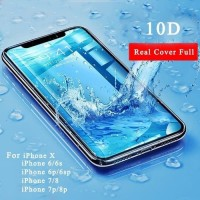 10D Tempered Glass Film Iphone 7 7 6 6 8 8 plus X Screen 10D - Hitam