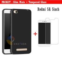 Tempered Glass Slim Mate Case Redmi 5a 5inch Soft casing - Hitam