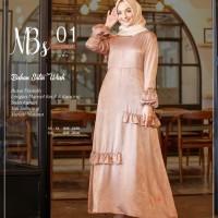 Baju Muslim Wanita Gamis Pesta Syari Busui Bahan Satin Nibras NBS 01