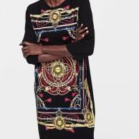 "ZARA RUBBERISED PRINT CONTRAST DRESS W ""RED/BLACK"" ORIGINAL"