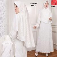 Baju Gamis Wanita Putih / Muslim Terbaru / Gamis Muslim #10601 STD