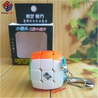 Rubik 3x3 Qiyi Keychain 3.0cm Stickerless Red / Speed Cube
