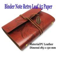 Buku Catatan Binder Kulit Retro Leaf / Binder Note / Notebook