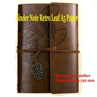 Buku Catatan Binder Kulit Retro Leaf A5/ Binder Note / Notebook