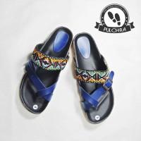 sandal wanita batik PY188 selop wedges cewek motif kayu