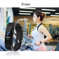 Jam Tangan Smart Watch ID115 Color LCD Heart Monitor Pedometer Premium
