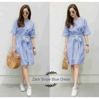 Zara Stripe Blue Dress Tunik Kotak Baju Muslim Kemeja Garis Dress
