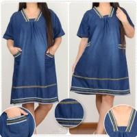 Dress Midi Olipe Shortdress Blouse Casual Tunik Jeans Jumbo Wanita