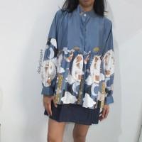 satin floral print top / atasan blouse lengan panjang murah