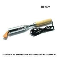 Solder Plat Bengkok 500 Watt Gagang Kayu Nankai