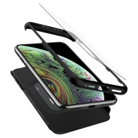 Spigen iPhone XS Max Case Thin Fit 360 Black (Glass Screen Protector)