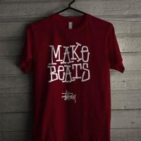 Kaos Distro Unisex T-Shirt Merah Maroon Make Beats Stussy Z7284
