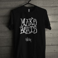 Kaos Distro Unisex T-Shirt Hitam Make Beats Stussy Z7284