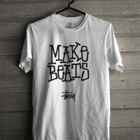 Kaos Distro Unisex T-Shirt Putih Make Beats Stussy Z7284