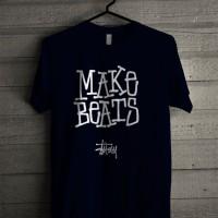Kaos Distro Unisex T-Shirt Navy Make Beats Stussy Z7284