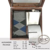 Groomsmen box bestman cufflinks dasi wedding bowtie ALEXANDER PACKAGE