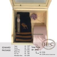Groomsmen box bestman cufflinks dasi wedding bowtie EDWARD PACKAGE