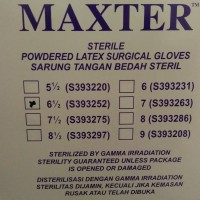 Sarung Tangan Latex Steril Maxter uk. 6,5