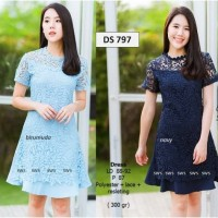 SEDS797 - DRESS PESTA LACE BRUKAT TILE MIDI DRESS IMPORT MURAH WANITA
