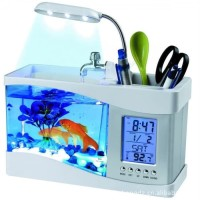 USB Desktop Aquarium Mini Fish Tank Running Water LCD OLB1026