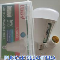 Lampu LED emergency LUBY 16w 16 watt L-5833 Bisa ganti baterai
