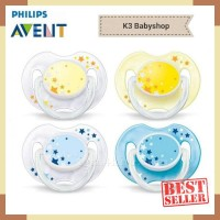 Empeng Avent Pacifier Soother 0-6m Star Glow in The Dark Night Time