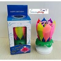 8 Sumbu Birthday Music Candle Lilin Pesta Musik Bunga Teratai Lilin