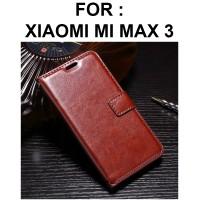 FLIP COVER WALLET case Xiaomi Mi Max 3 MiMax 3 casing leather dompet - Hitam