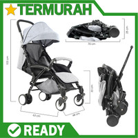 kereta dorong bayi stroller lipat travel baby elle labeile genius