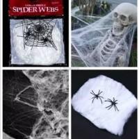 Properti Foto Dekorasi Pesta Halloween Sarang Laba Laba Putih