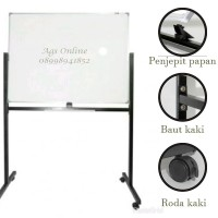 Whiteboard / papan tulis keiko magnetic double face + stand 120 x 240