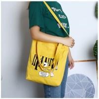Tas Tote Bag Shoulder Sling Bag Wanita Bahan Kanvas | JJ-TB 07