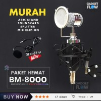 Microphone Mic BM 8000 PAKET RECORDING / Stand Flexible + Pop Filter