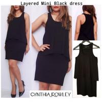 CYNTHIA Layered Black mini dress brand murah