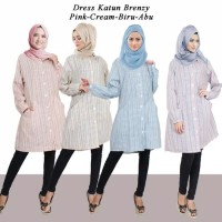 Brenzy Dress Tunik Katun Garis Pelangi Kancing Full Buka