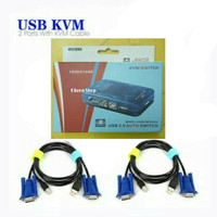 KVM Switch USB 2 Port Auto + 2 Pcs Kabel KVM