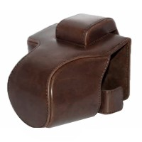 Canon EOS M50 M5 Leather Bag / Case / Tas Kamera 15-45 MM - Dark Brown