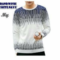 Grandwish White Navy Sweater