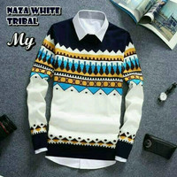 Naza White Tribal Sweater