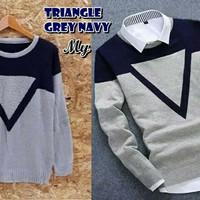 Triangel Grey Navy Sweater