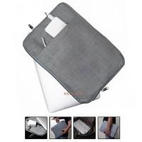 Sarung Laptop / Sleeve Case Laptop 14 inch Bahan Nylon Kanvas Grey