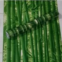Bambu hijau tua 45 cm x 10 mtr ~ Wallpaper sticker dinding
