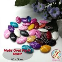 Mote Oval Pipih Motif per 50 pcs mix (aplikasi bros, kalung, gelang)
